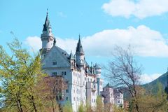Neuschwanstein Castle, The nineteenth-century Romanesque Revival palace built for King Ludwig II. Neuschwanstein Castle, The nineteenth-century Romanesque stock photo