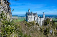Neuschwanstein Castle, the nineteenth-century Romanesque Revival palace built for King Ludwig II on a rugged cliff near Fussen,. Bavaria, Germany stock photography