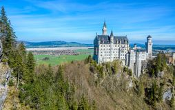 Neuschwanstein Castle, the nineteenth-century Romanesque Revival palace built for King Ludwig II on a rugged cliff near Fussen,. Bavaria, Germany stock photo
