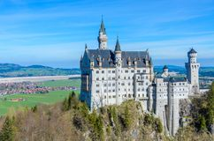Neuschwanstein Castle, the nineteenth-century Romanesque Revival palace built for King Ludwig II on a rugged cliff near Fussen,. Bavaria, Germany royalty free stock photography