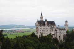 Neuschwanstein Castle. A nineteenth-century Romanesque Revival palace on a rugged hill above the village of Hohenschwangau near Füssen in southwest Bavaria Stock Images