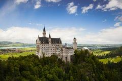 Neuschwanstein Castle is palace near Fussen in Bavaria. Neuschwanstein Castle is a 19th-century Romanesque Revival palace near Fussen in southwest Bavaria stock photography
