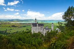 Neuschwanstein Castle is palace near Fussen in Bavaria. Neuschwanstein Castle is a 19th-century Romanesque Revival palace near Fussen in southwest Bavaria stock photography
