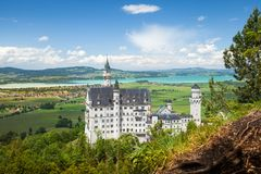 Neuschwanstein Castle is palace near Fussen in Bavaria. Neuschwanstein Castle is a 19th-century Romanesque Revival palace near Fussen in southwest Bavaria royalty free stock photo