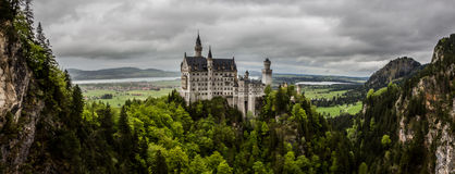 Neuschwanstein Castle panorama, Bavaria, Germany Royalty Free Stock Photography