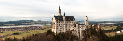 Neuschwanstein castle panoramic Royalty Free Stock Photography