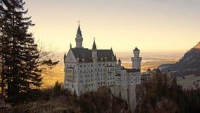 Neuschwanstein castle in Schwangau. Palace of Ludwig II high above the village of Schwangau near Füssen in southwest Bavaria, Germany Royalty Free Stock Images