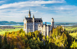 Neuschwanstein castle. In a summer day in Germany Royalty Free Stock Photos
