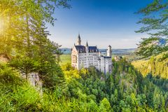 Neuschwanstein Castle at sunset, Bavaria, Germany royalty free stock images