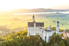 Neuschwanstein castle sunset Royalty Free Stock Image