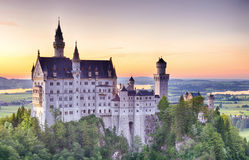 Neuschwanstein Castle by Sunset Stock Photography