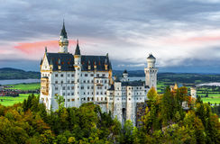 Neuschwanstein castle at sunset. View on Neuschwanstein castle at sunset time. Bavaria, Germany Stock Images