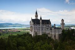Neuschwanstein Castle is palace near Fussen in Bavaria. Neuschwanstein Castle is a 19th-century Romanesque Revival palace near Fussen in southwest Bavaria stock images
