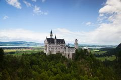 Neuschwanstein Castle is palace near Fussen in Bavaria. Neuschwanstein Castle is a 19th-century Romanesque Revival palace near Fussen in southwest Bavaria stock photos