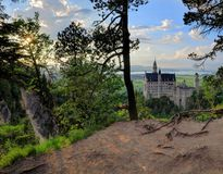 Neuschwanstein Castle from the trees Royalty Free Stock Photo