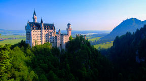 Neuschwanstein castle view from Marienbrucke, Bayern Germany. Neuschwanstein castle view from Marienbrucke, Bayern, Germany royalty free stock image
