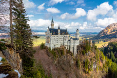 Neuschwanstein Castle in winter landscape, Fussen, Germany built for King Ludwig II, with sc Royalty Free Stock Images