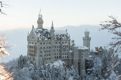 Neuschwanstein Castle in winter landscape Stock Photos