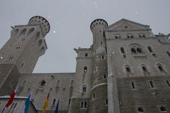 Neuschwanstein Castle in winter time. Fussen. Germany. Close up view. Stock Photos