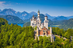 Neuschwanstein Fairytale Castle, Bavaria, Germany. Beautiful view of world-famous Neuschwanstein Castle, the nineteenth-century Romanesque Revival palace built Royalty Free Stock Images