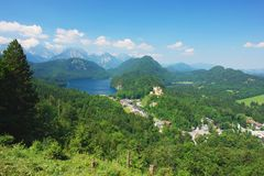 Neuschwanstein, Germany. View of the Alpsee and Hohenschwangau, Germany Royalty Free Stock Photo