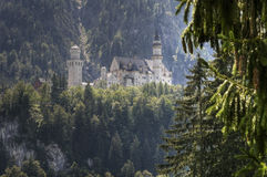 Neuschwanstein on the hill Royalty Free Stock Photography