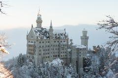 Neuschwanstein kasztel w zima krajobrazie Zdjęcia Stock