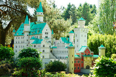 Neuschwanstein in Lego Bricks. A replica of the Bavarian castle of Neuschwanstein in LEGO Bricks Stock Image