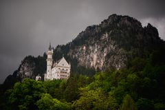 Neuschwanstein, Lovely Autumn Landscape Panorama Picture of the fairy tale castle near Munich in Bavaria, royalty free stock photos