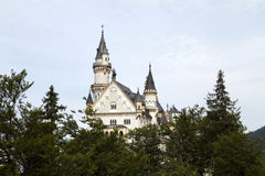 Neuschwanstein Schloss zwischen Bäumen Lizenzfreie Stockbilder
