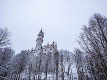 Neuschwanstein slott i vinterlandskap germany Fotografering för Bildbyråer
