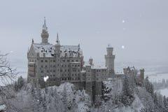 Neuschwanstein slott i vintertid Fussen germany Arkivbilder