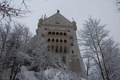 Neuschwanstein slott i vintertid mellan träd Fussen germany Royaltyfri Fotografi