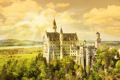 Neuschwanstein sunset Royalty Free Stock Photography