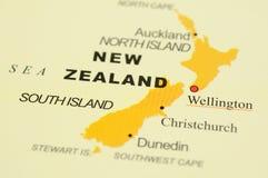 Neuseeland auf Karte Stockfotos