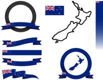 Neuseeland-Fahnen-Satz Lizenzfreie Stockbilder
