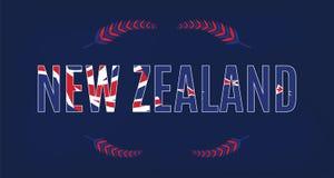 Neuseeland-Fahnenschablone mit nationalem Sonderzeichen - Farn Lizenzfreie Stockfotos