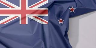 Neuseeland-Gewebeflaggenkrepp und -falte mit Leerraum lizenzfreie stockfotografie
