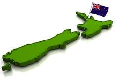 Neuseeland - Karte und Markierungsfahne Lizenzfreies Stockbild