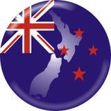 Neuseeland-Karte und Markierungsfahne Lizenzfreie Stockfotografie