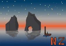 Neuseeland-Nachtlandschaftsillustrationspostkarte Stockfotos