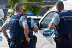 Neuseeland-Polizeiaufgebot stockfoto