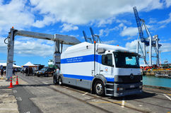 Neuseeland-Zollamt-Frachtscannen-LKW Stockfotografie