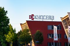 Neuss Germany June 29th 2018: Kyocera logo sign at their branch building stock photo