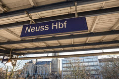 Neuss train station sign germany Royalty Free Stock Images