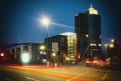 Neustadt rojo del hafencity del atasco rápido del schnell del laser del innenstadt del tráfico de ciudad de Hamburgo imagen de archivo