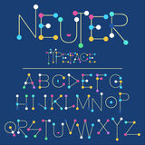 Neuter modern flat font made with dots, good for motion and game design, colorful font  on background Royalty Free Stock Image