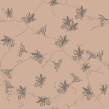 Neutral almond floral seamless pattern Stock Photos