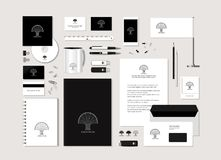 The neutral black-and-white corporate identity with the stylized. Tree. Samples of business cards, a disk, a flag, a pen, a flash card, a form, an envelope, a Royalty Free Stock Photography
