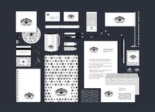 Stylized tree. The neutral black-and-white corporate identity with the stylized tree. Samples of business cards, a disk, a flag, a pen, a flash card, a form, an Stock Illustration